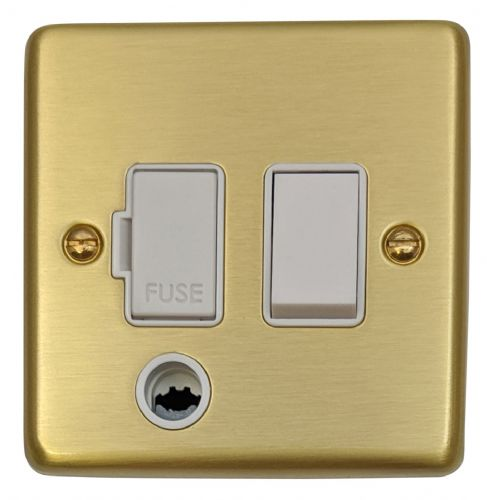 G&H CSB56W Standard Plate Satin Brushed Brass 1 Gang Fused Spur 13A Switched & Flex Outlet